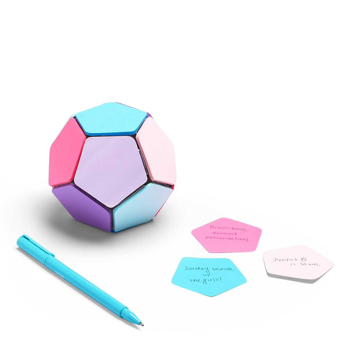 A sphere with sticky notes affixed to it