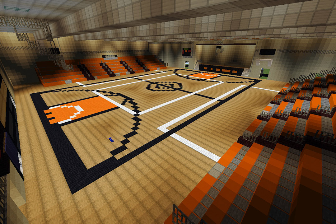 Clark Gym recreated in Minecraft video game.