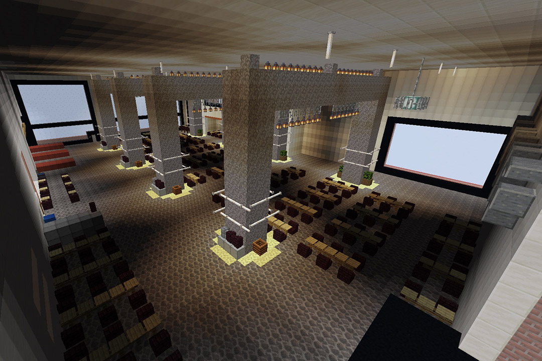 Al Davis Room recreated in Minecraft video game.