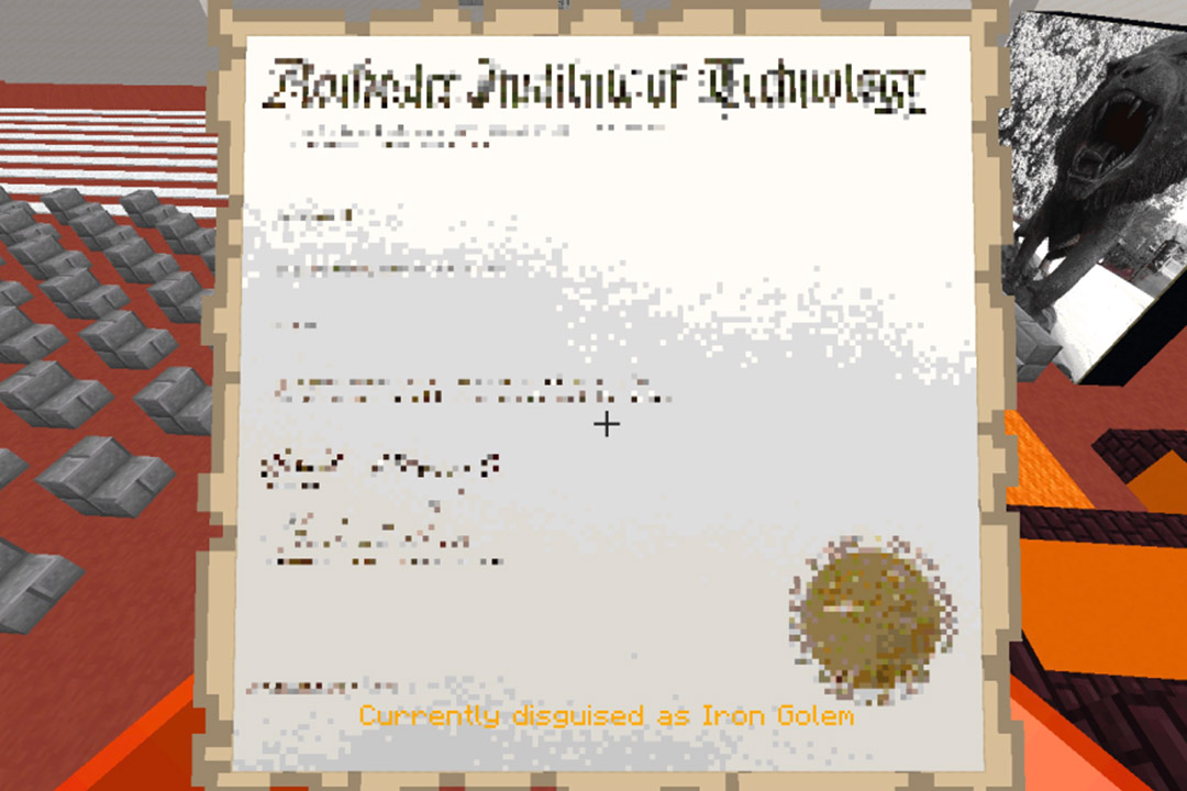 Minecraft version of an RIT diploma.