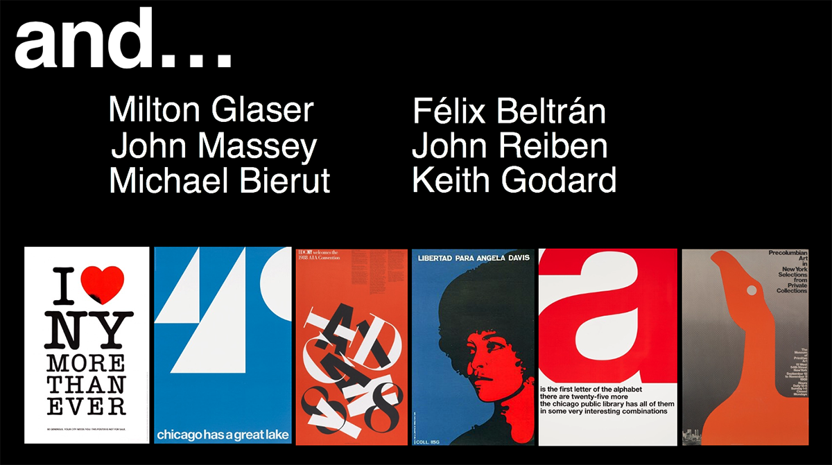 A slide featuring some of the Vignelli Center's collections in addition to Massimo and Lella Vignelli's.