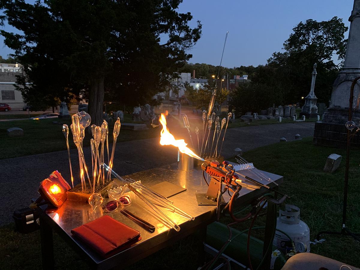 An outdoor flameworking setup.