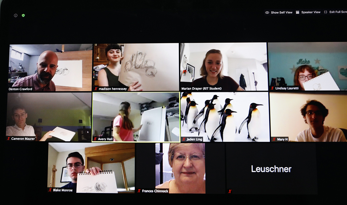 A gallery view of a Zoom meeting.