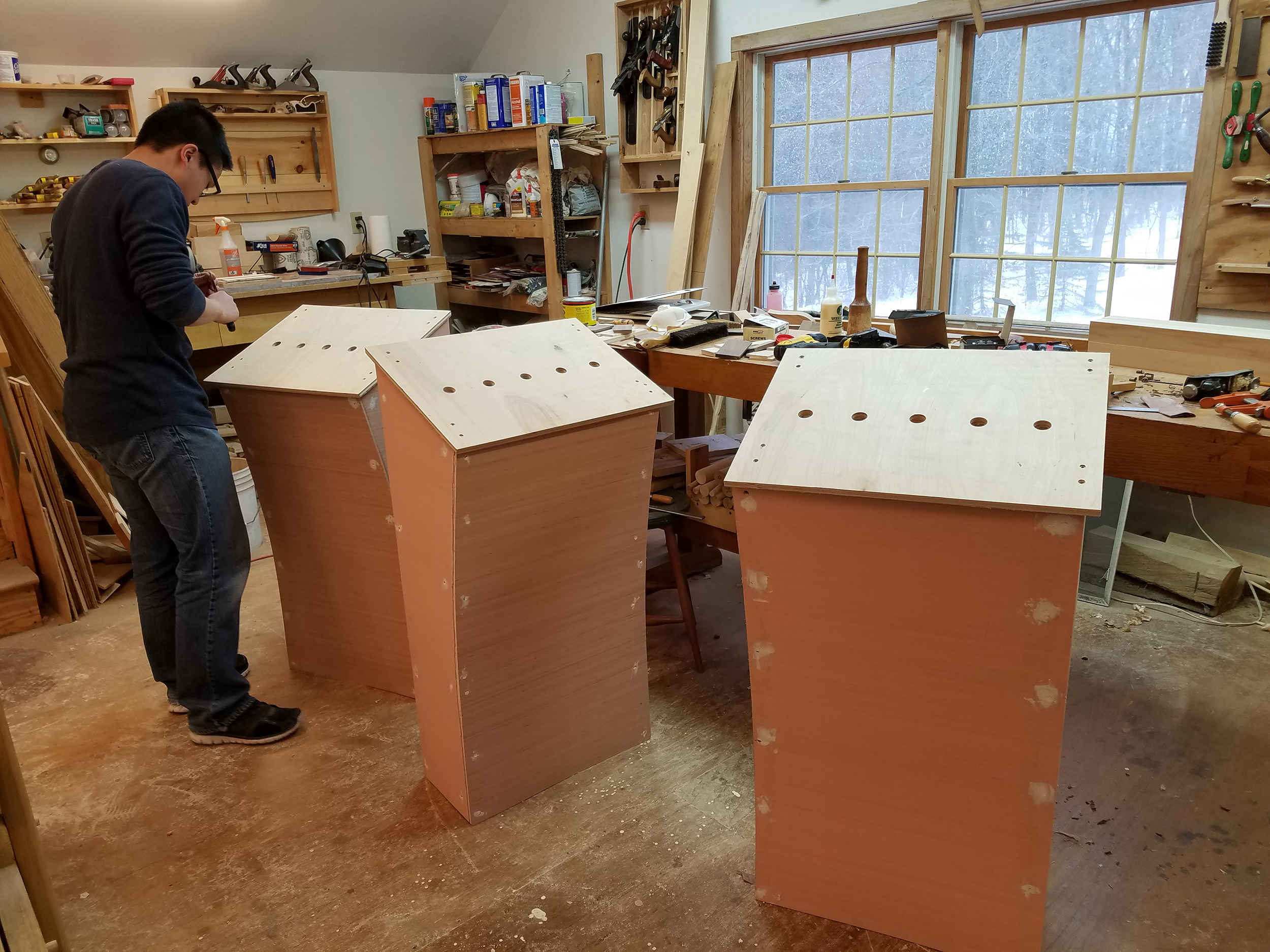 3 podiums under construction in a house