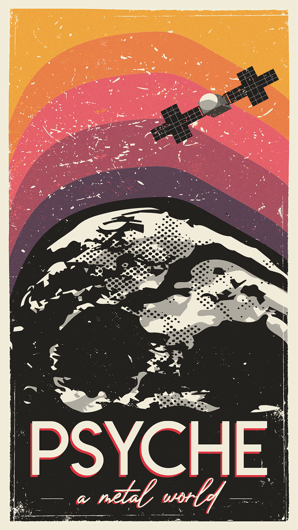 A vintage travel poster with an illustration of the Psyche asteroid.