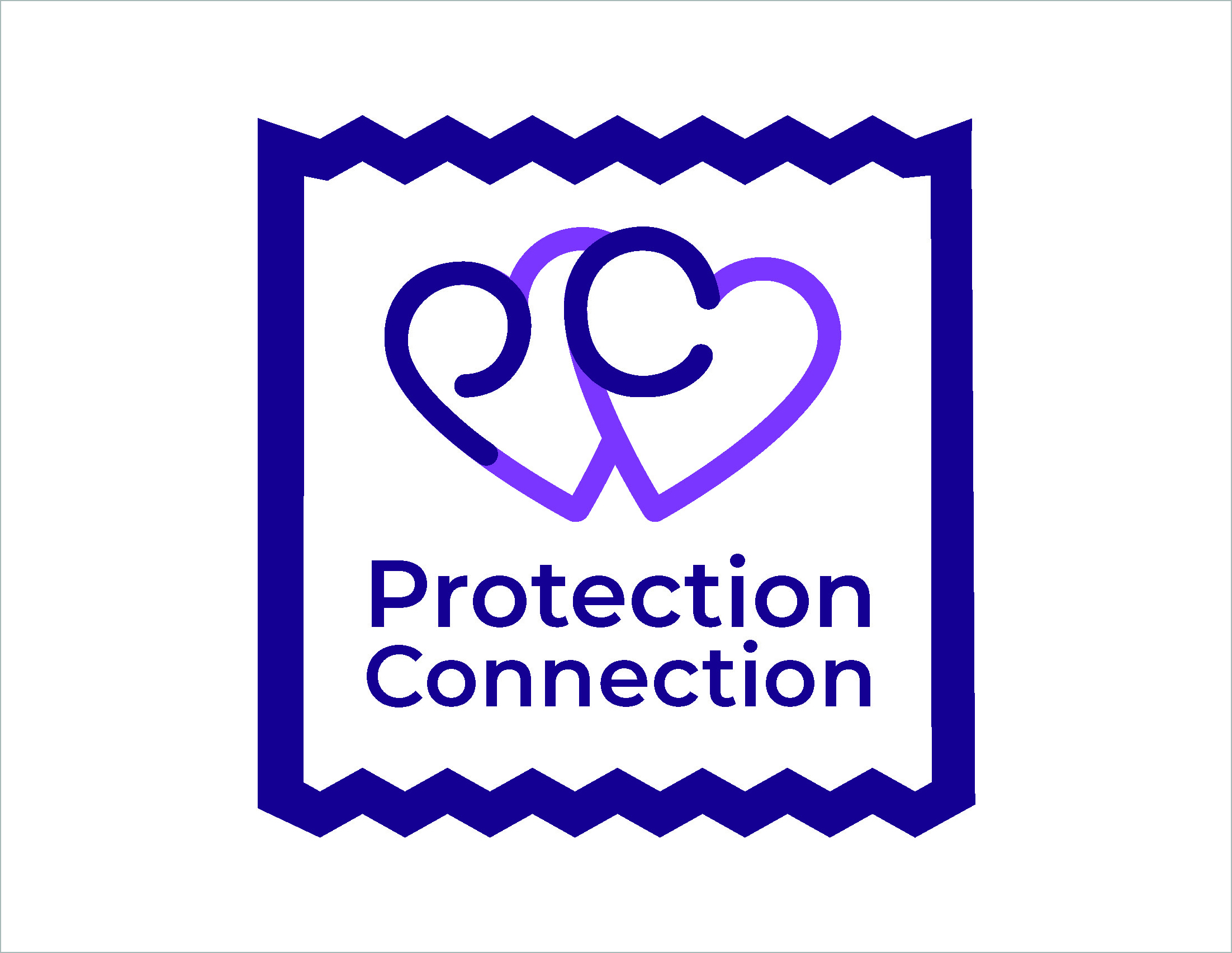 A logo of interlocking hearts that reads Protection Connection.