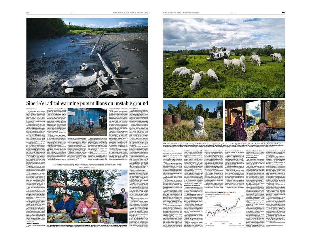inside spread  of Washington Post story.