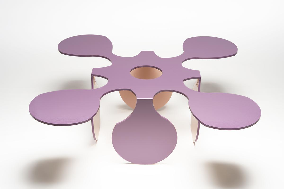 A purple table-like design.