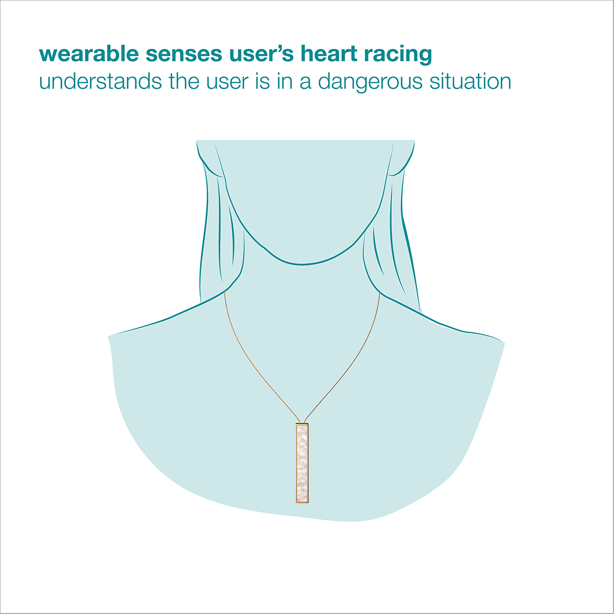 A design of a wearable necklace that alerts of potential danger.