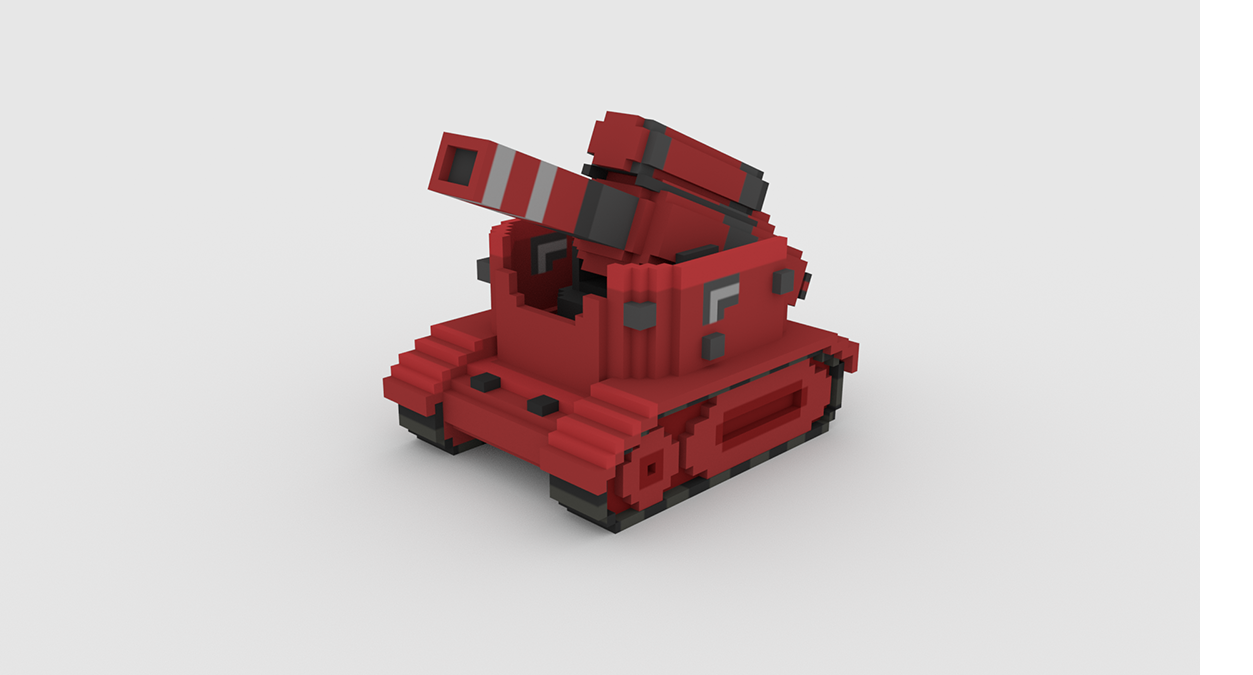 A 3D model of a tank for a mobile video game.
