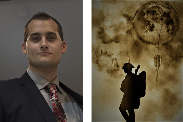 On the left is a headshot of Matt Altobelli. On the right is the cover art for his book, which features the silhouette of a solider and a moon with dog tags hanging from it.