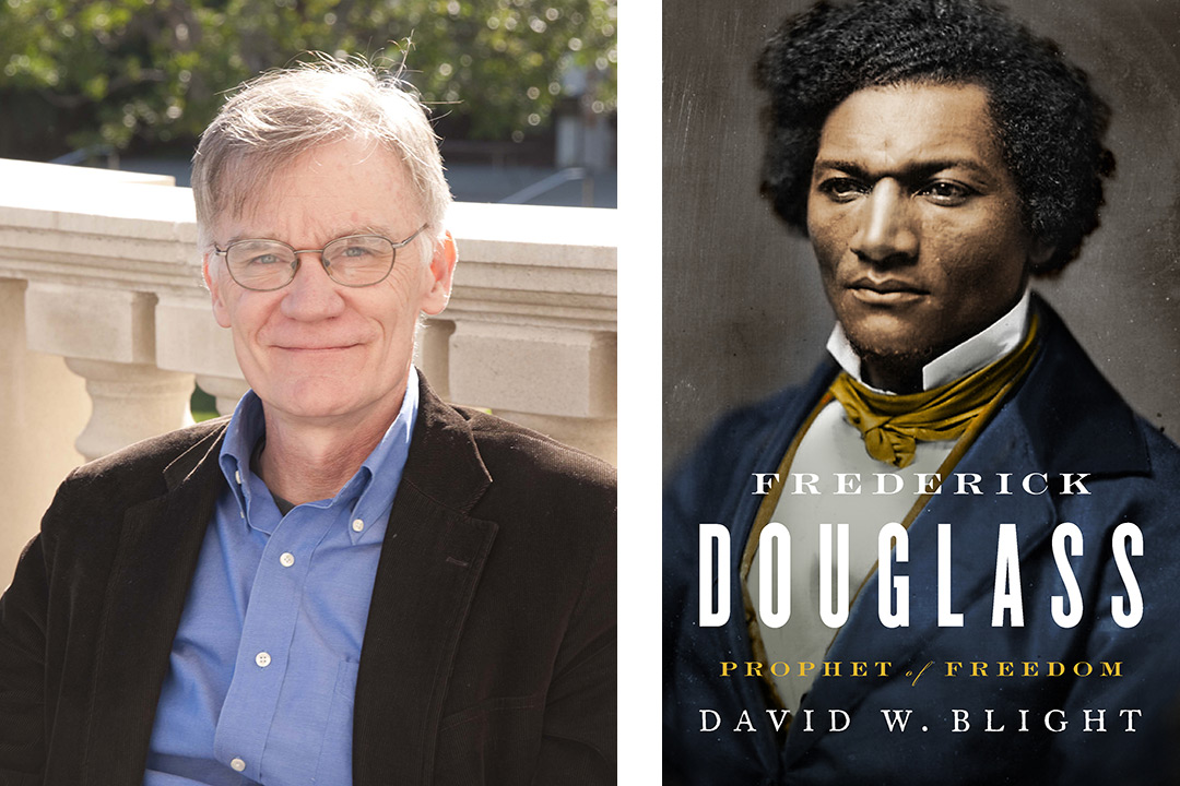 On the left is a headshot of David blight. On the right is the front cover of his book, featuring a portrait of Frederick Douglass.