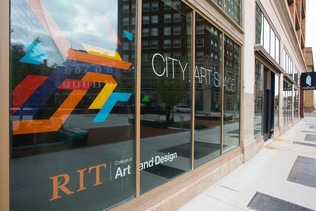 The front window display at the new RIT City Art Space.
