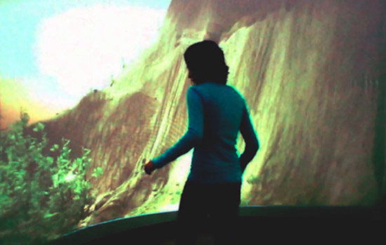 Person in interactive room
