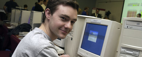 Student in front of computer