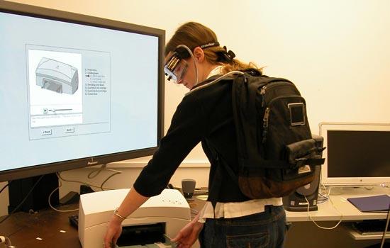 Student using testing machine