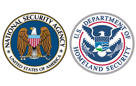 Two logos side by side, one for the USA National Security Agency and the other for the US Department of Homeland Security.