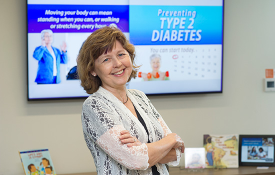 Barbara Lohse poses for a photo in the Wegmans School of Health and Nutrition office.