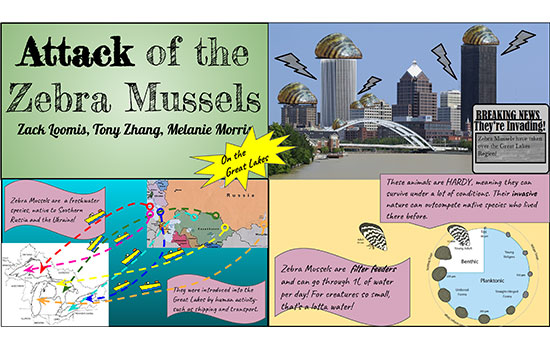 "A student-created poster about the ""Attack of the Zebra Mussels."" The poster features a mixture of illustrated and real-life photos of Rochester and the Great Lakes region."