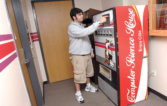 Person ordering from vending machine