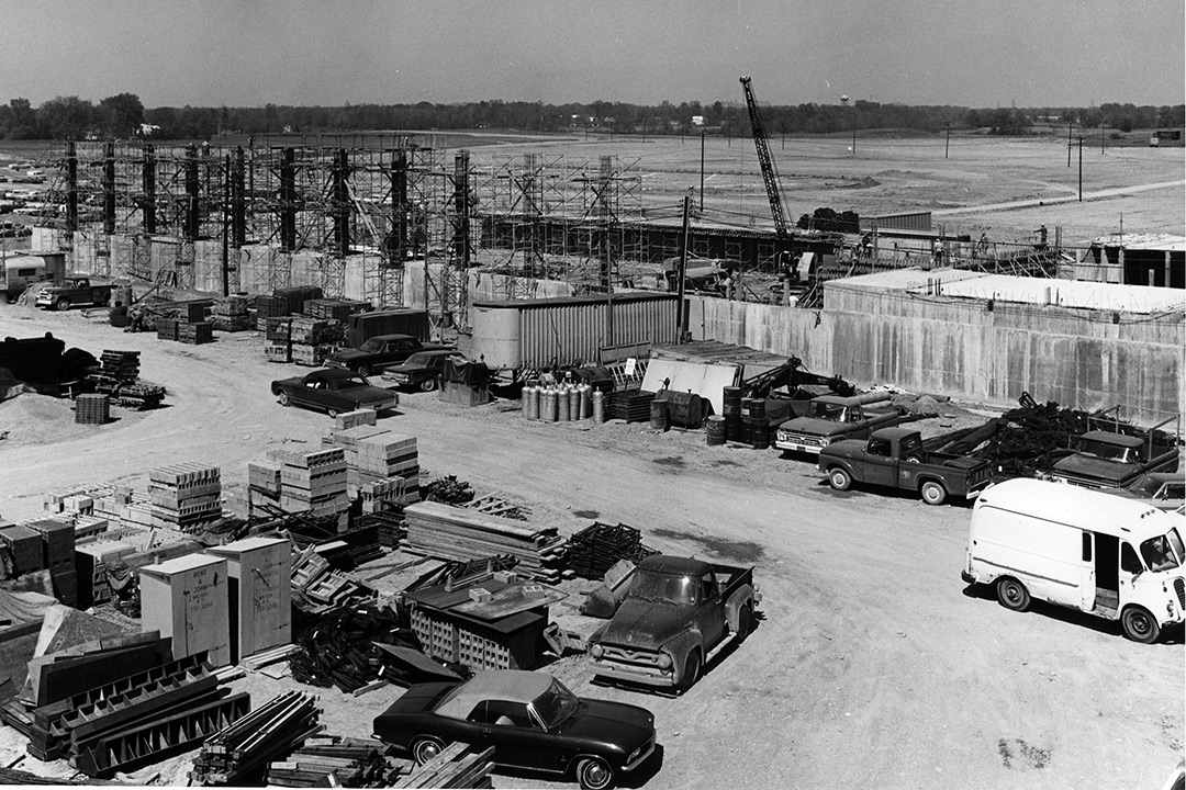 A black and white photo of the early stages of construction of the RIT Henrietta campus.