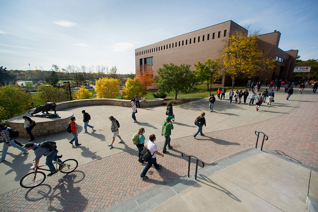 An aerial view of students walking down the quarter mile on RIT's Henrietta campus.