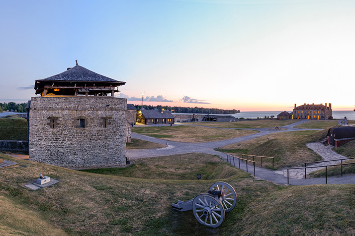 Old Fort Niagara tower with canons in foreground.