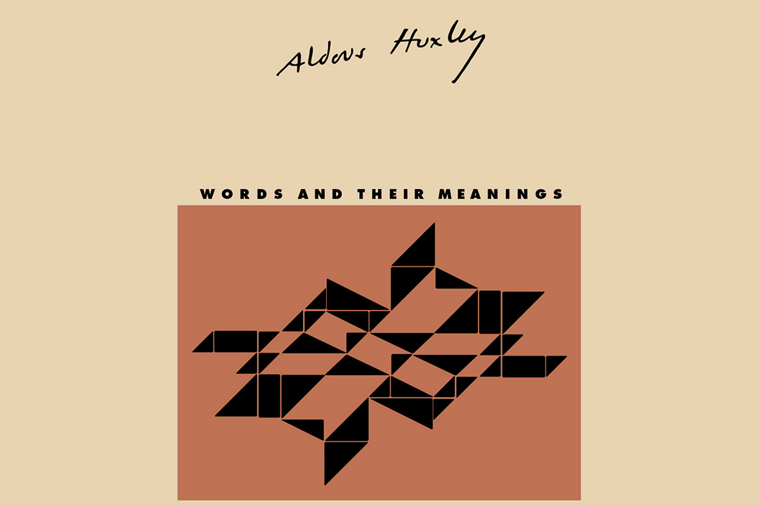 """The cover art of Huxley's eassy """"Words and Their Meanings"""" featuring a tan background and a burnt orange square in the center with a black, geometric pattern within the square."""