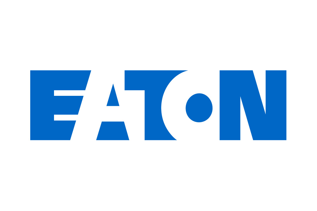 "Logo for Eaton. Blue and white letters spelling out ""Eaton"" in all capital letters."