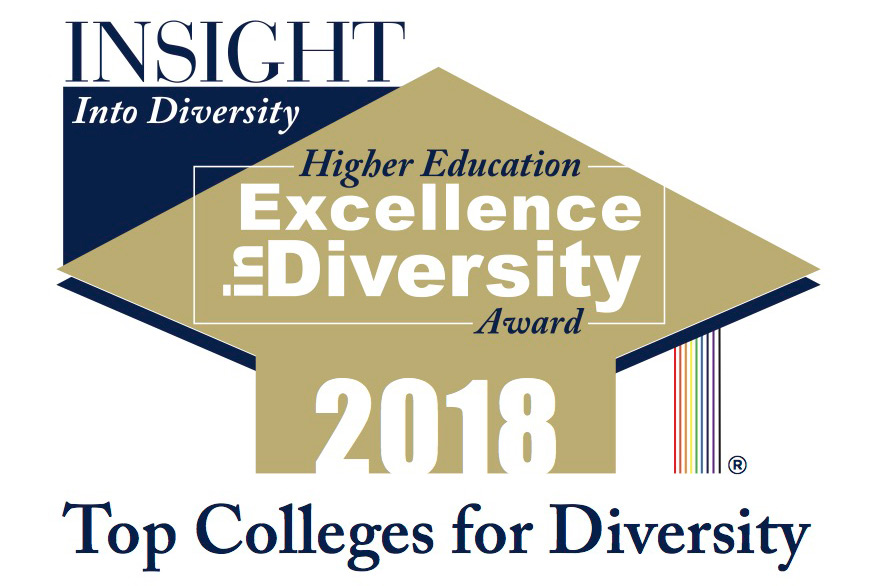 """Logo for the """"Top Colleges for Diversity"""" 2018 Award."""