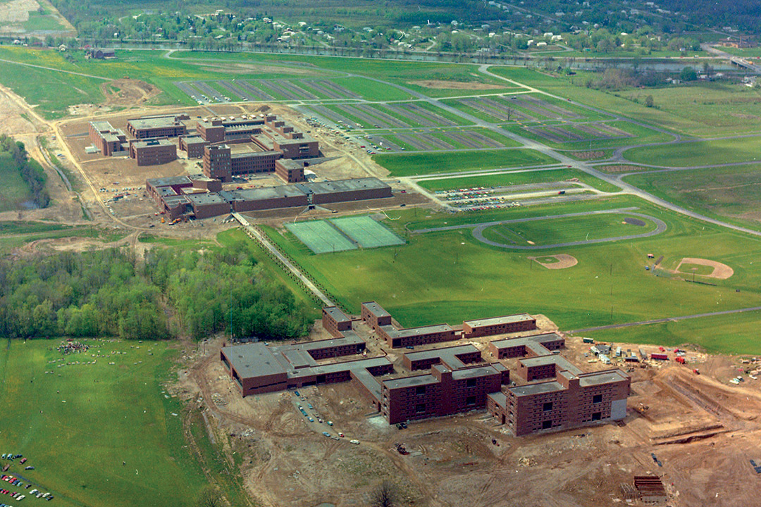An aerial view of the Henrietta RIT campus during construction.