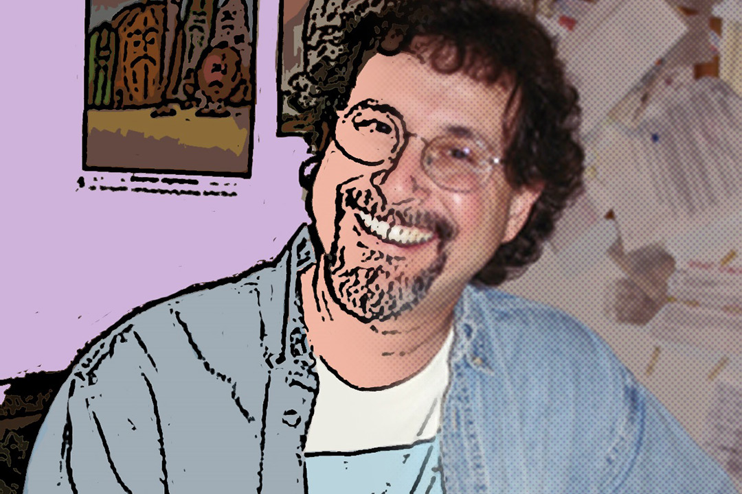 An artistic rendition of Leigh Rubin, the left half of the image looking to be illustrated while the other half looks like a normal photo. The split between illustration and real-image falls across the middle of Rubin's face.