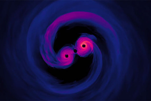 Two black holes swirl around each other, nearly touching in the center of the image. The black holes are bright pink and fade to a dark blue or purple around the edges.