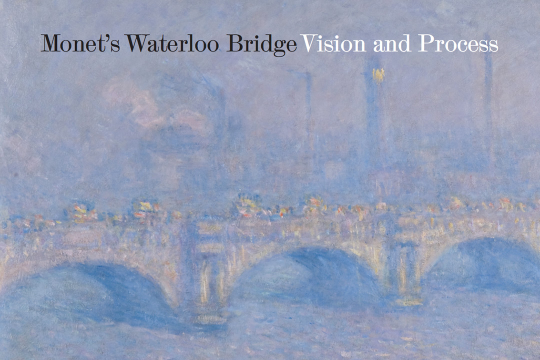 "Monet's ""Waterloo Bridge"" painting with the words ""Monet's Waterloo Bridge Vision and Process"" overlaying the image at the top."