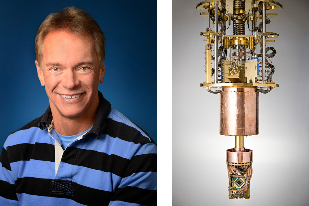 On the left, a headshot of Robert Ewald. On the right, quantum computer equipment.
