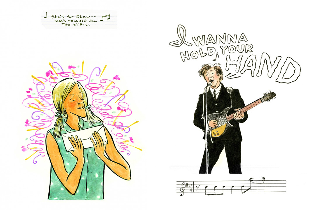 """An excerpt from Carol Tyler's comic book featuring a love-struck fan on the left and Paul McCartney is shown playing his guitar and singing the lyrics from """"I Wanna Hold Your Hand."""""""