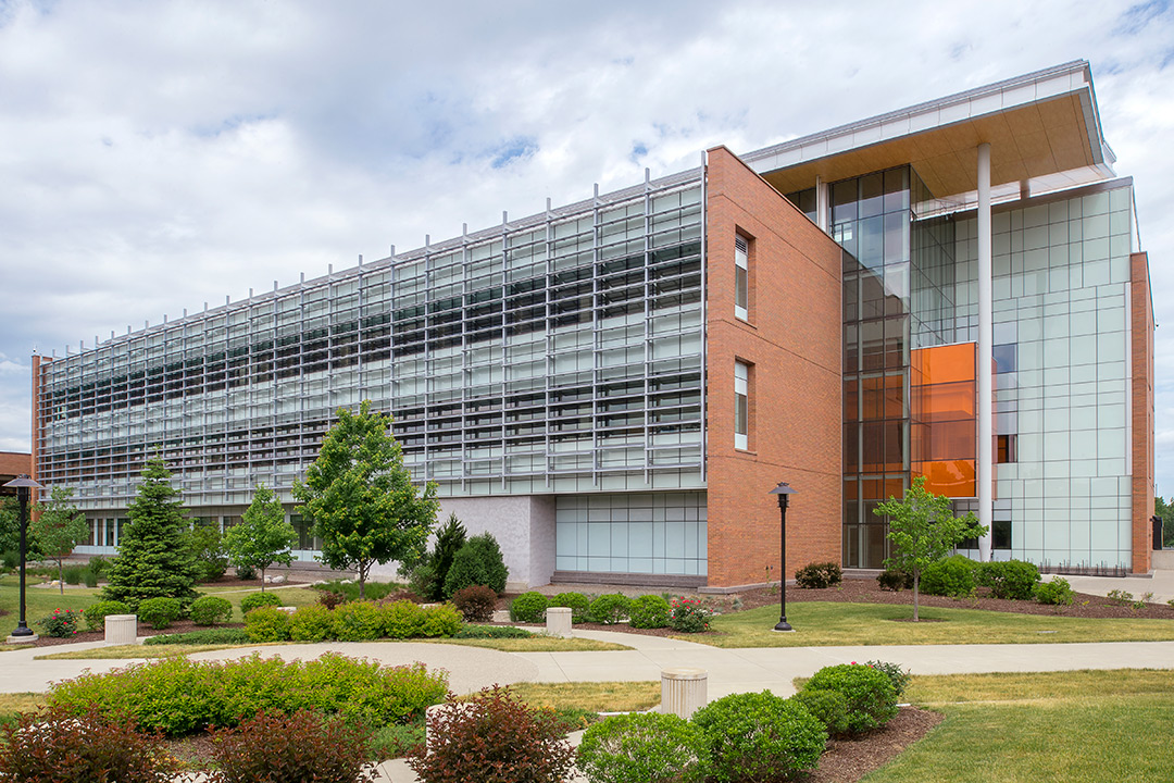 A landscape photo of the front of the Sustainability building on RIT campus.