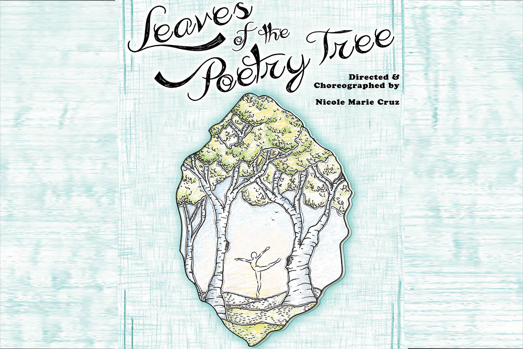 "book cover reads ""leaves of the poetry tree"" with illustration of birch trees and figure dancing"