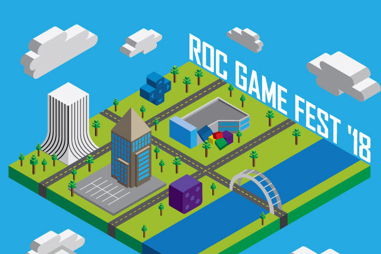 Graphic of city of Rochester elements to look like a blocky video game