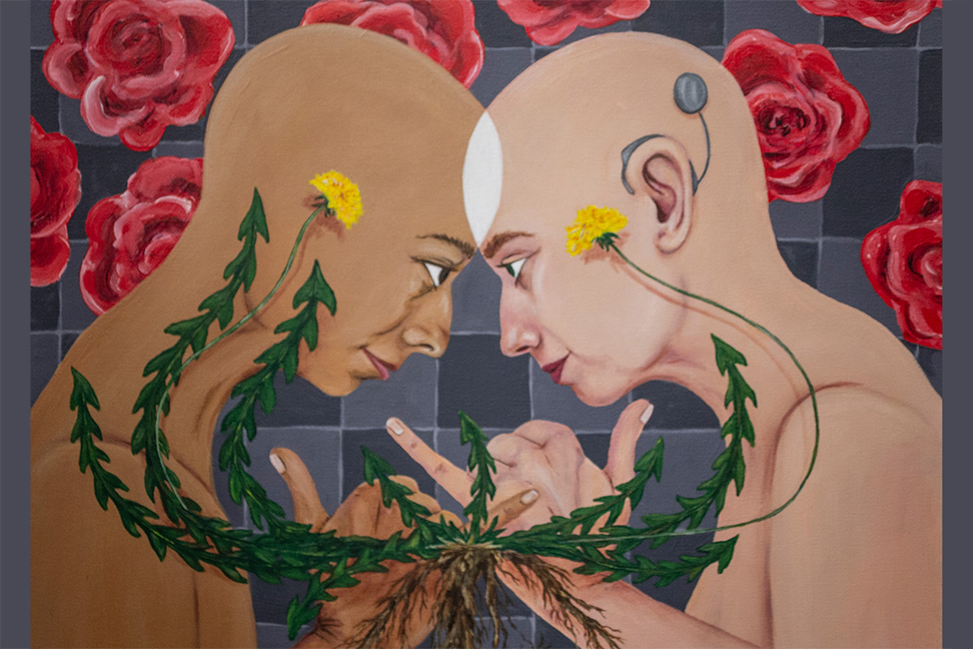Painting of two people of different races facing each other, forehead to forehead, communicating with sign language