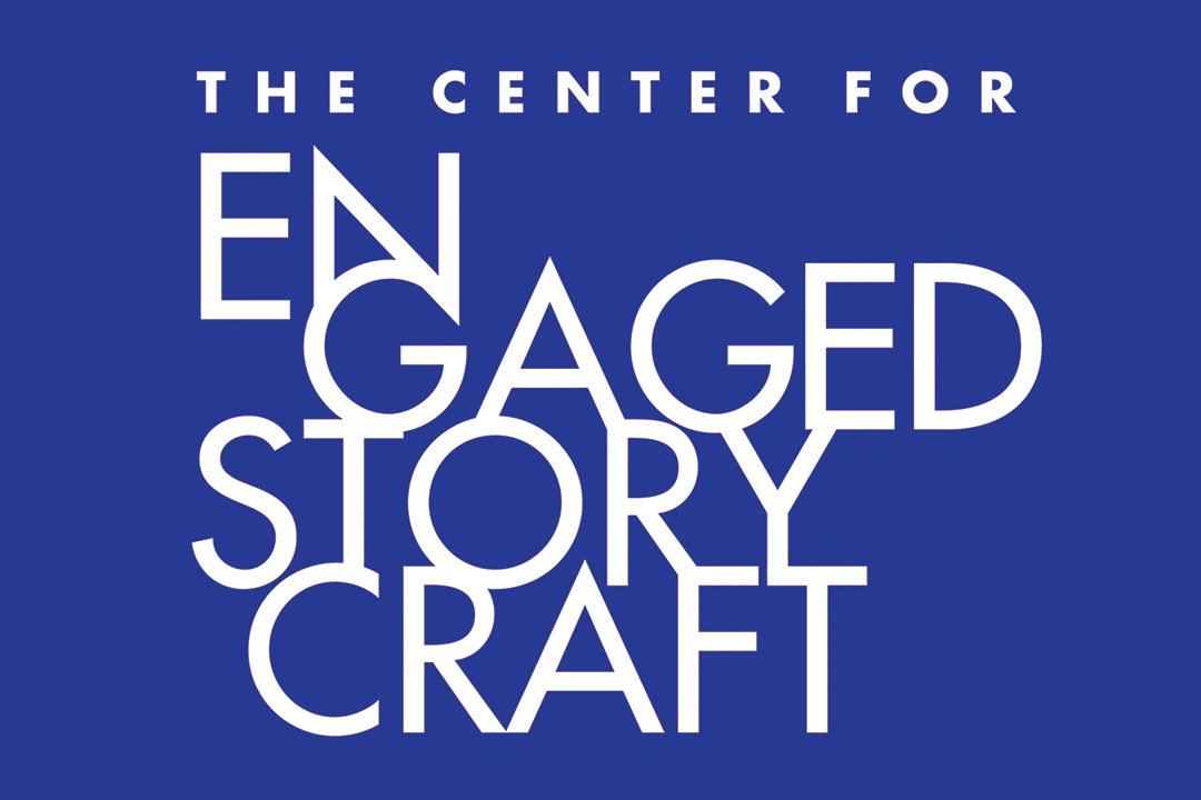 Graphic with blue background and white text reads: The Center for Engaged Storycraft