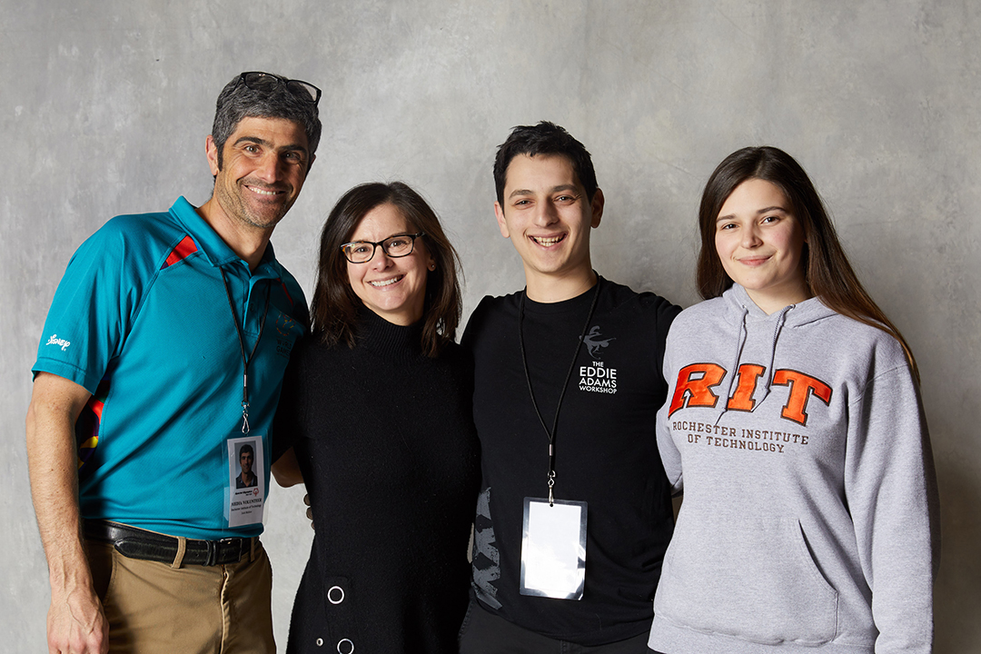 RIT's Special Olympics project faculty advisors with student leaders, from left: Josh Meltzer, Jenn Poggi, Boris Shirman and Jackie Diller.