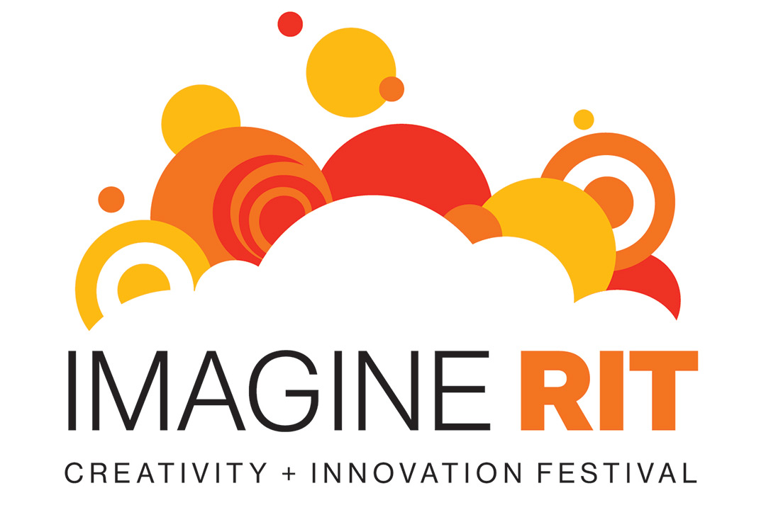 Imagine RIT Creativity + Innovation Festival logo with cloudes and orange and yellow cirlces