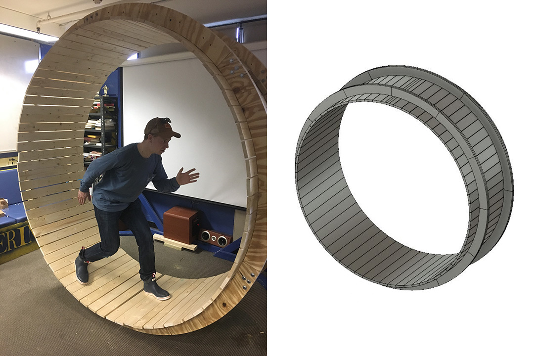 Split screen of design for large wheel and person posing in giant wooden hamster wheel.