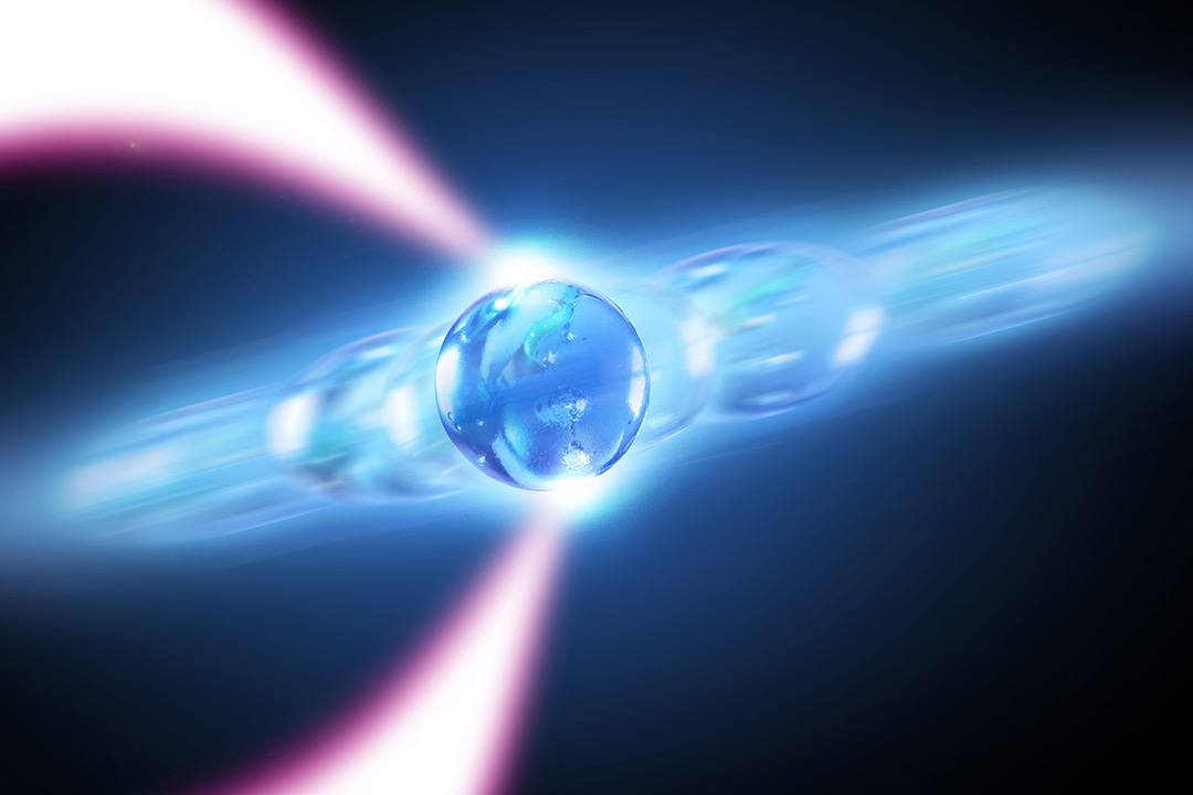 Graphic of a phonon laser using an optically levitated nanoparticle.