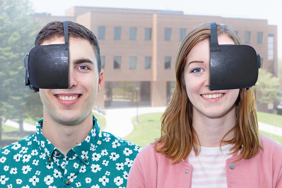 Tim Stringer and Emily Haldeman with VR goggles