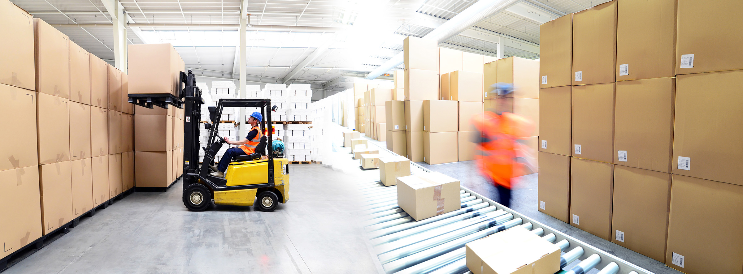 'Forklift in warehouse'