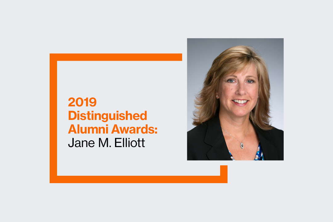 Graphic reads: 2019 Distinguished Alumni Awards: Jane M. Elliott