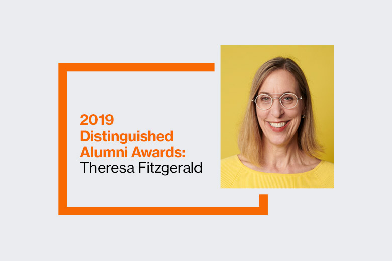 Graphic reads: 2019 Distinguished Alumni Awards: Theresa Fitzgerald