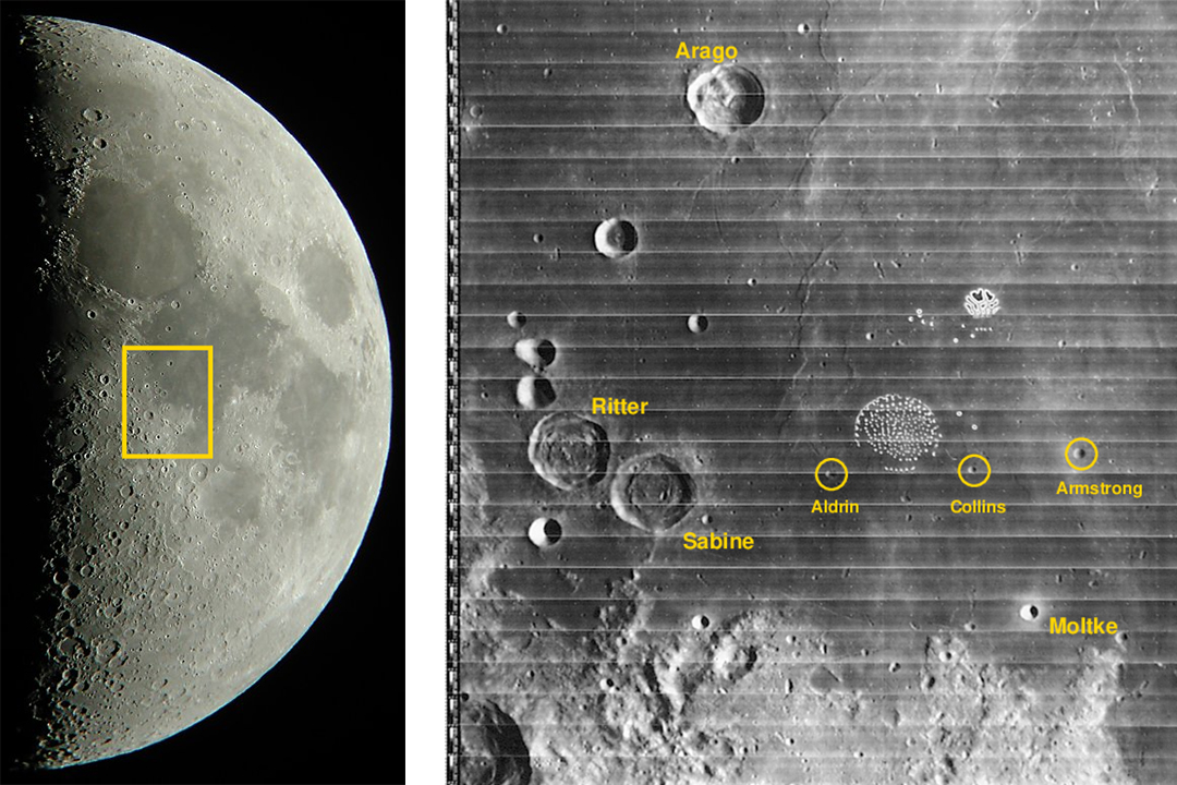 'Side-by-side images of the moon and close-up of craters on the moon.'